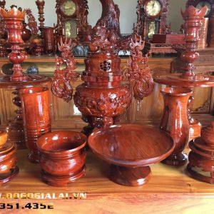 Bộ lư thờ bằng gỗ hương 9 món