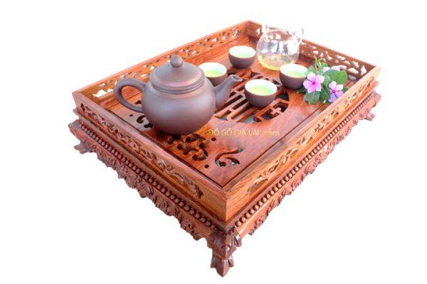 khay trà chân quỳ gỗ hương