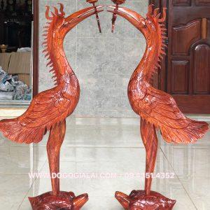 cặp hạc thờ bằng gỗ hương gia lai
